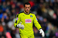 Plymouth Argyle goalkeeper Luke McCormick during the Sky Bet League 2 match between Plymouth Argyle and York City at Home Park, Plymouth, England on 28 March 2016. Photo by Graham Hunt.