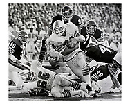 Miami Dolphins running back Larry Csonka attacks the end zone in Miami, October, 1979.