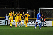 Newport's Conor Washington (2nd left) celebrates after he scores his sides 1st goal. Johnstone's Paint Trophy Quarter Final (Southern Area)  match, Newport county v Portsmouth at Rodney Parade in Newport, South Wales on Tuesday 12th November 2013. pic by Andrew Orchard, Andrew Orchard sports photography,
