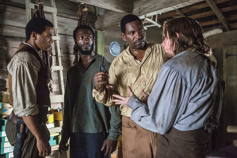 """Alano Miller as Cato, Aldis Hodge as Noah, Mykelti Williamson as Moses and Joseph Sikora as Frog Jack in WGN America's """"Underground."""""""
