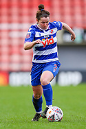 Reading defender Emma Mitchel (3) runs forward with the ball during the FA Women's Super League match between Manchester United Women and Reading LFC at Leigh Sports Village, Leigh, United Kingdom on 7 February 2021.