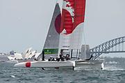 SailGP Japan Team during a race condition practice session. Race 1 Season 1 SailGP event in Sydney Harbour, Sydney, Australia. 12 February 2019. Photo: Chris Cameron for SailGP. Handout image supplied by SailGP