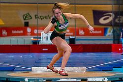 Sarah van Beilen in action on shot put during the Dutch Athletics Championships on 14 February 2021 in Apeldoorn