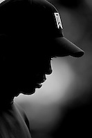 20 February 2005:  Tiger Woods black and white profile silouette Sunday during the delayed second round of pro golf in the rain at the Nissan Open @ the Riviera Country Club in Pacific Palisades, CA.  Rounds of golf have been washed out due to wet weather. Black and White color conversion.
