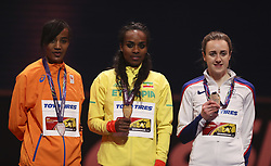 LONDON, March 2, 2018  Genzebe Dibaba (C) of Ethiopia poses with Sifan Hassan (L) of Netherlands and Laura Muir of Britain on the podium during the awarding ceremony for the women's 3000m final of the IAAF World Indoor Championships at Arena Birmingham in Birmingham, Britain on March 1, 2018.  wll) (Credit Image: © Han Yan/Xinhua via ZUMA Wire)