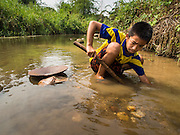 """22 APRIL 2014 - WANG NUA, LAMPANG, THAILAND: A boy pans for gold in the Mae Wang. Villagers in the Wang Nua district of Lampang province found gold in the Mae Wang (Wang River) in 2011 after excavation crews dug out sand for a construction project. A subsequent Thai government survey of the river showed """"a fair amount of gold ore,"""" but not enough gold to justify commercial mining. Now every year when the river level drops farmers from the district come to the river to pan for gold. Some have been able to add to their family income by 2,000 to 3,000 Baht (about $65 to $100 US) every month. The gold miners work the river bed starting in mid-February and finish up  by mid-May depending on the weather. They stop panning when the river level rises from the rains. This year the Thai government is predicting a serious drought which may allow miners to work longer into the summer.    PHOTO BY JACK KURTZ"""