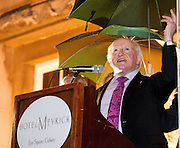 President Elect Michael D Higgins arriving back to Hotel Meyrick in Galway to a huge welcome. Photo:Andrew Downes
