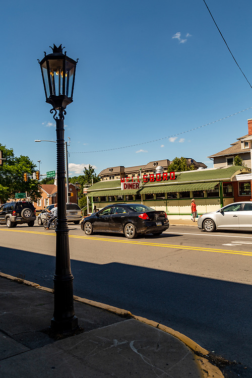 Wellsboro, PA - July 26, 2016: The downtown streets of Wellsboro still illuminated with authentic gas street lamps.