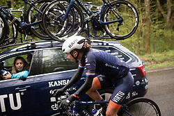 Anouska Koster (NED) of Team Virtu Cycling chats to DS Carmen Small (USA) during the Liege-Bastogne-Liege Femmes - a 138.5 km road race, between Bastogne and Liege on April 28, 2019, in Wallonie, Belgium. (Photo by Balint Hamvas/Velofocus.com)