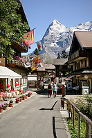 A view of The Eiger Mountain taken from Murren, a small village in Switzerland.