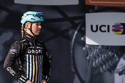 Alice Barnes takes to the stage at the Liege-Bastogne-Liege Femmes - a 135.5 km road race between Bastogne and Ans on April 23 2017 in Liège, Belgium.