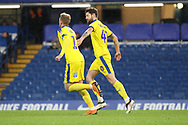 AFC Wimbledon midfielder Anthony Wordsworth (40) celebrating after scoring goal to make it 2-1 during the EFL Trophy match between U21 Chelsea and AFC Wimbledon at Stamford Bridge, London, England on 4 December 2018.