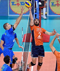 Alen Pajenk, Yannick van Harskamp #2 during volleyball match between National teams of Netherlands and Slovenia in Playoff of 2015 CEV Volleyball European Championship - Men, on October 13, 2015 in Arena Armeec, Sofia, Bulgaria. Photo by Ronald Hoogendoorn / Sportida