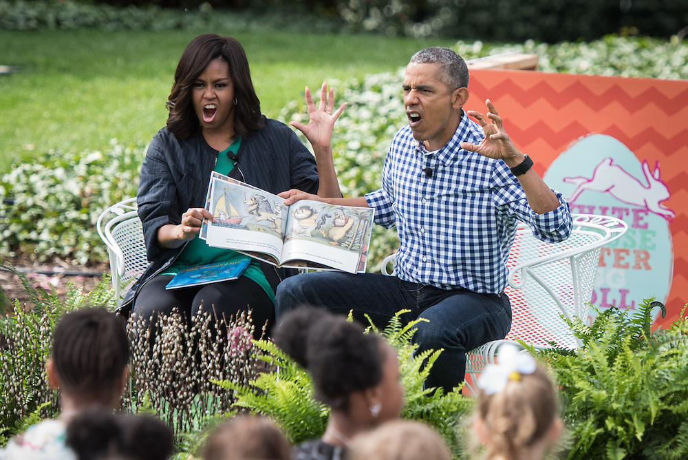 The President and First Lady Obama read a story to the children during the 2016 White House Easter Egg Roll. President Obama read Where the Wild Things Are, and the First Lady read Rainbow Fish.