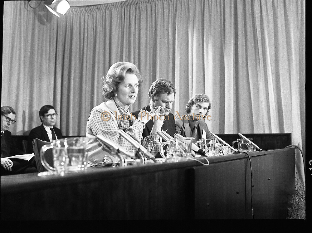 EEC Leaders Meet At Dublin Castle.   (N4)..1979..29.11.1979..11.29.1979..29th November 1979..At Dublin Castle the leaders of the countries within the EEC held a summit conference to discuss issues which would affect the EEC over the forthcoming years..At the end of the conference Mrs Margaret Thatcher,the British Prime Minister,is pictured taking questions from the assembled media.