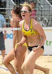 16-07-2014 NED: FIVB Grand Slam Beach Volleybal, Apeldoorn<br /> Poule fase groep G vrouwen - Julia Sude (2) GER