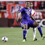 HARRISON, NEW JERSEY- APRIL 24: Cyle Larin #9 of Orlando City FC, is fouled by Ronald Zubar #23 of New York Red Bulls, during the New York Red Bulls Vs Orlando City MLS regular season match at Red Bull Arena, Harrison, New Jersey on April 24, 2016 in New York City. (Photo by Tim Clayton/Corbis via Getty Images)