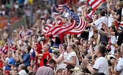 10.07.2011, Glückgas Stadion, Dresden,  GER, FIFA Women Worldcup 2011, Viertelfinale , Brasil (BRA) vs USA (USA)  im Bild   USA-Fans jubeln zum 0:1 .//  during the FIFA Women Worldcup 2011, Quarterfinal, Germany vs Japan  on 2011/07/10, Arena im Allerpark , Wolfsburg, Germany.  .EXPA Pictures © 2011, PhotoCredit: EXPA/ nph/  Hessland       ****** out of GER / CRO  / BEL ******