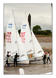 470 Class European Championships Largs - ..Launching on the Championship Slipway with the Pencil Monument