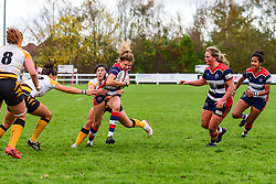 Lillian Stoeger of Bristol Ladies is tackled by Sammy Graham of Wasps Ladies - Mandatory by-line: Craig Thomas/JMP - 28/10/2017 - RUGBY - Cleve RFC - Bristol, England - Bristol Ladies v Wasps Ladies - Tyrrells Premier 15s