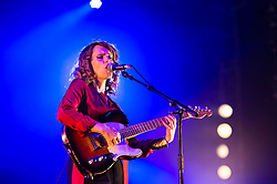 © Licensed to London News Pictures. 13/06/2014. Isle of Wight, UK.   Anna Calvi performing live at Isle of Wight Festival .   The Isle of Wight festival is an annual music festival that takes place on the Isle of Wight. Photo credit : Richard Isaac/LNP