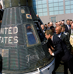 December 8, 2016 - (File Photo) - John Glenn, the first American to orbit the Earth and a former U.S. senator and war hero, has died. He was 95. PICTURED:  February 23, 1962 - Cape Canaveral, Florida, U.S. - President JOHN F. KENNEDY and Astronaut JOHN GLENN look into the Mercury Friendship 7 space capsule that carried Glenn into space at the Cape Canaveral Air Force Station. Glenn was awarded the Distinguished Service Medal by the President following his historic flight. (Credit Image: © NASA/ZUMAPRESS.com)