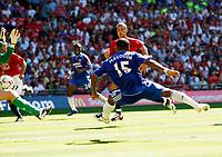 Photo: Richard Lane/Sportsbeat Images.<br />Manchester United v Chelsea. FA Community Shield. 05/08/2007. <br />Chelsea's Florent Malouda scores a goal.