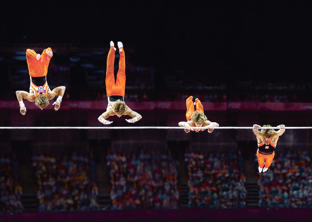 Engeland, Londen, 07-08-2012.<br /> Olympische Spelen, Turnen.<br /> Epke Zonderland met de Kovacs.<br /> Foto : Klaas Jan van der Weij