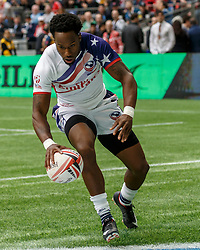 March 10, 2018 - Vancouver, British Columbia, U.S. - VANCOUVER, BC - MARCH 10: Carlin Isles (#1) of USA crosses the try line to score during Game # 8- Usa vs Uruguay Pool A match at the Canada Sevens held March 10-11, 2018 in BC Place Stadium in Vancouver, BC. (Photo by Allan Hamilton/Icon Sportswire) (Credit Image: © Allan Hamilton/Icon SMI via ZUMA Press)