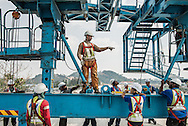 Malaysia / Kuala Lumpur <br /> <br /> VSL / Creation of the Sungai Buloh - Kajang Line (Blue Line) for MRT Malaysia / Construction sites / Section V7 - Bridge -Erection & PT / Workers at Gantry (woman worker) <br /> <br /> <br /> © Daniele Mattioli China Corporate Photographer  for Bouygues / VSL