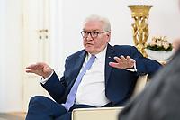 02 FEB 2021, BERLIN/GERMANY:<br /> Frank-Walter Steinmeier, Bundespraesident, waehrend einem Interview, Robert-Blum-Saal, Schloss Bellevue<br /> IMAGE: 20210202-01-030<br /> KEYWORDS: BUndespräsident