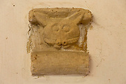 Unusual stone carving like a cat, church of Saint John the Baptist, Badingham, Suffolk, England, UK