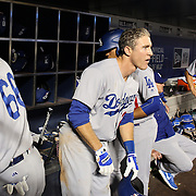 NEW YORK, NEW YORK - May 27:  Chase Utley #26 of the Los Angeles Dodgers in the dugout preparing to bat during the Los Angeles Dodgers Vs New York Mets regular season MLB game at Citi Field on May 27, 2016 in New York City. (Photo by Tim Clayton/Corbis via Getty Images)