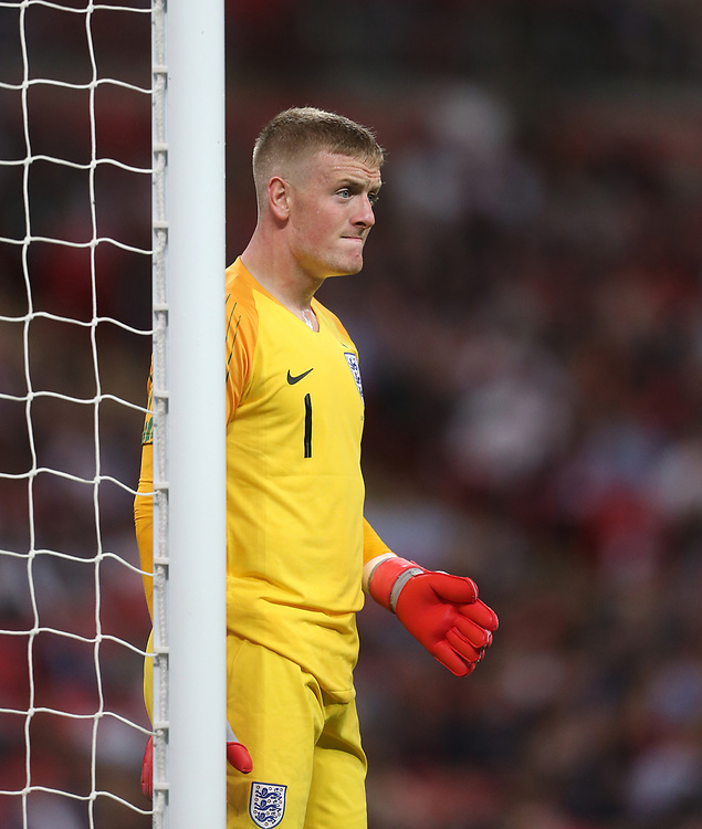 England's Jordan Pickford<br /> <br /> Photographer Rob Newell/CameraSport<br /> <br /> UEFA Nations League - League A - Group 4 - England v Spain - Saturday September 8th 2018 - Wembley Stadium - London<br /> <br /> World Copyright © 2018 CameraSport. All rights reserved. 43 Linden Ave. Countesthorpe. Leicester. England. LE8 5PG - Tel: +44 (0) 116 277 4147 - admin@camerasport.com - www.camerasport.com
