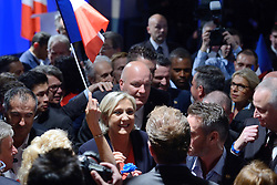 French presidential election candidate for Front National (FN) far-right party Marine Le Pen arriving to make a statement after the second round of the French presidential election, at Chalet du Lac in Vincennes, near Paris, France on May 7, 2017. Le Pen has been defeated by Emmanuel Macron by a margin of more than 65% to 34%. Photo by Aurore Marechal/ABACAPRESS.COM