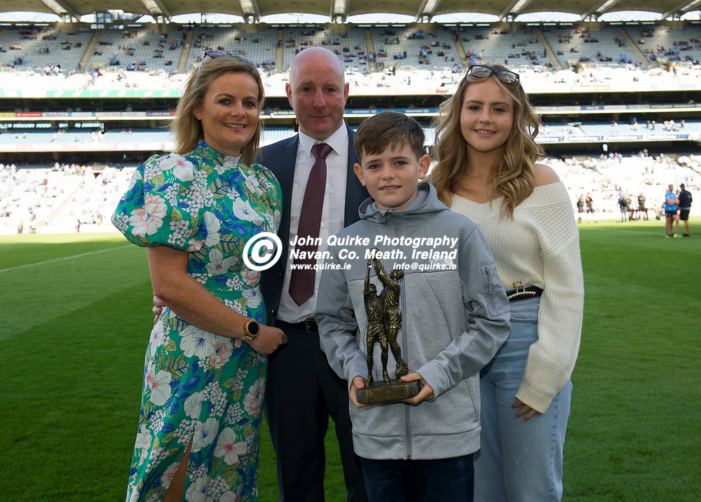01–08-21. Leinster GAA Football Hall of Fame Award 2021.<br />  Colin Kelly, Louth, Leinster GAA Football Hall of Fame award recipient  2021 pictured with his wife Pamela, daughter Tara and son Connell.w Colin was presented with his award  during half time in the Dublin v Kildare Leinster Senior Football Championship Final at Croke Park.<br />  Photo: John Quirke / www.quirke.ie<br /> ©John Quirke Photography, 16 Proudstown Road, Navan. Co. Meath. (info@quirke.ie / 046-9028461 / 087-2579454).
