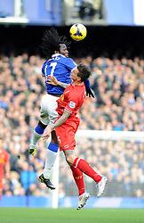 Everton's Romelu Lukaku beats Liverpool's Daniel Agger to the header - Photo mandatory by-line: Dougie Allward/JMP - Tel: Mobile: 07966 386802 23/11/2013 - SPORT - Football - Liverpool - Merseyside derby - Goodison Park - Everton v Liverpool - Barclays Premier League