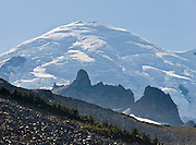 See glaciers and crevasses on Mt. along the Wonderland Trail to Summerland in Mount Rainier National Park, Washington, USA.