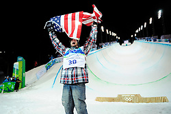 Olympic Winter Games Vancouver 2010 - Olympische Winter Spiele Vancouver 2010, Snowboard (Men's Halfpipe), Scott Lago of the United States celebrates after his first run of the finals of the men's snowboard halfpipe competition at Cypress Mountain in Vancouver BC, Canada during the 2010 Winter Olympics Wednesday February 17, 2010. Lago won the bronze medal..Photo by newsport / HOCH ZWEI / SPORTIDA.com.... *** Local Caption *** +++ www.hoch-zwei.net +++ copyright: HOCH ZWEI / newsport +++
