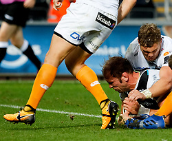 Alun Wyn Jones of Ospreys scores his sides seventh try<br /> <br /> Photographer Simon King/Replay Images<br /> <br /> Guinness PRO14 Round 2 - Ospreys v Cheetahs - Saturday 8th September 2018 - Liberty Stadium - Swansea<br /> <br /> World Copyright © Replay Images . All rights reserved. info@replayimages.co.uk - http://replayimages.co.uk