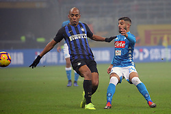 December 26, 2018 - Milan, Milan, Italy - Lorenzo Insigne #24 of SSC Napoli competes for the ball with Joao Mario #15 of FC Internazionale Milano during the serie A match between FC Internazionale and SSC Napoli at Stadio Giuseppe Meazza on December 26, 2018 in Milan, Italy. (Credit Image: © Giuseppe Cottini/NurPhoto via ZUMA Press)