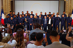 French 2018 football World Cup winners pose with French president Emmanuel Macron, his wife Brigitte Macron, French soccer team head coach Didier Deschamps, French Sport Minister Roxana Maracineau and French football Federation president Noel Le Graet during a Legion of Honour award ceremony for French 2018 football World Cup winners at the Elysee Palace in Paris, on June 4, 2019. Photo by Hamilton/pool/ABACAPRESS.COM