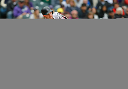 May 13, 2018 - Denver, CO, U.S. - DENVER, CO - MAY 13: Colorado Rockies infielder Trevor Story (27) hits during a regular season MLB game between the Colorado Rockies and the visiting Milwaukee Brewers on May 13, 2018 at Coors Field in Denver, CO. (Photo by Russell Lansford/Icon Sportswire) (Credit Image: © Russell Lansford/Icon SMI via ZUMA Press)