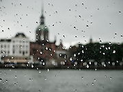 Rain on the ferry window, pulling into Dordrectht, Netherlands
