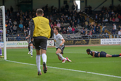 Ayr United's Laurence Shankland celebrates after scoring their second goal. Dundee 0 v 3 Ayr United, Scottish League Cup Second Round, played 18/8/2018 at the Kilmac Stadium at Dens Park, Scotland.