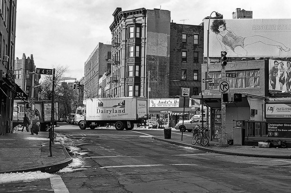 The bustling intersection at Christopher Street in Greenwich Village, New York, New York.
