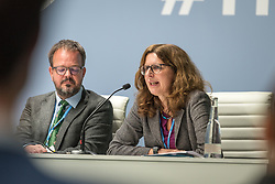 12 December 2019, Madrid, Spain: Heike Henn, Federal Ministry for Economic Cooperation and Development, Germany, speaks at a side-event on Breaking new ground: Advancing loss and damage governance and finance mechanisms, at COP25.
