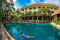 Swimming pool, Raffles Hotel Le Royal, Phnom Penh, Cambodia.