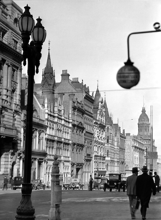 Collins Street, Old Fleet & Rialto Buildings, Melbourne, Australia, 1930