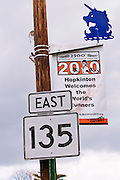 Route 135 sign and Boston Marathon banner, Hopkinton, Massachusetts